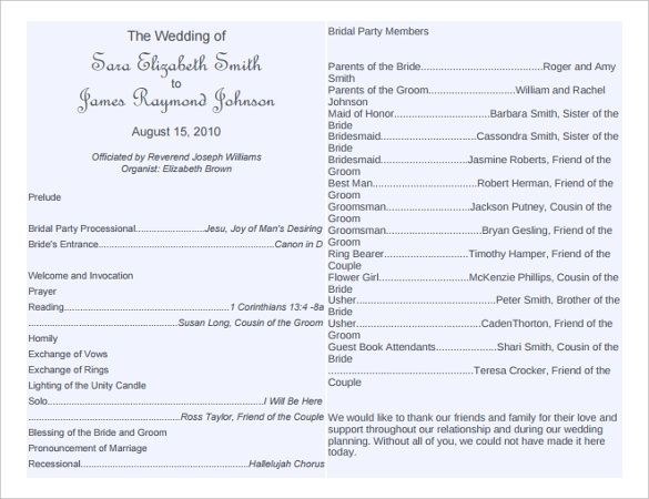 free wedding program word templates Wedding Bulletin Templates - wedding program inclusions