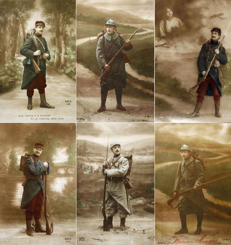 This combo of colorized post cards released by the Historial de Péronne, Museum of WW1, shows 'Poilus', French World War I infantrymen, with...
