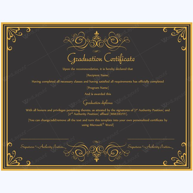13 best Graduation Certificate Templates images on Pinterest - naming certificates free templates