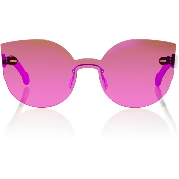 SUPER by RETROSUPERFUTURE Tuttolente Lucia Pink Sunglasses (£190) ❤ liked on Polyvore featuring accessories, eyewear, sunglasses, pink, butterfly glasses, acetate glasses, pink glasses, retrosuperfuture glasses and retrosuperfuture sunglasses