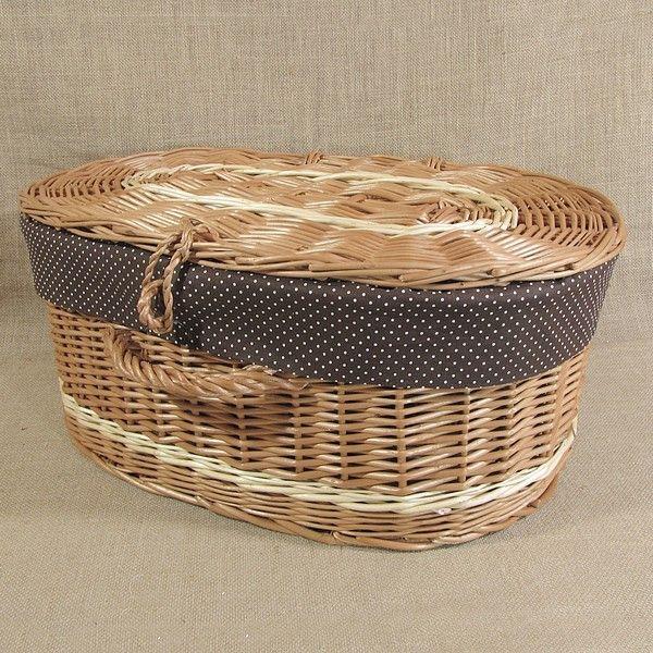 Wiklinowa walizka obszyta materiałem kol. brązowy