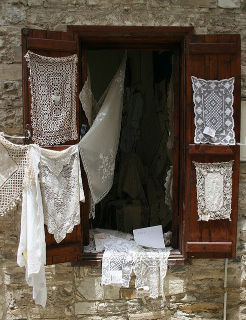 Lefkara Lace in a Window - Cyprus.. Photo by Raphael Bick on Flickr