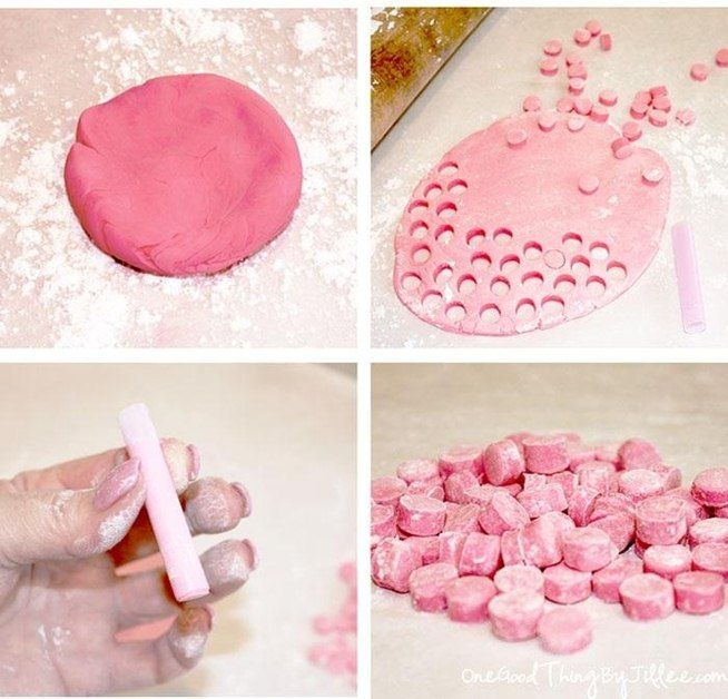 1 pkg gum paste, essential oils, food coloring (opt.), citric acid (if tart), powdered sugar to keep things from sticking.  Knead oil etc into gum paste then use straw to cut out discs, more pwdr sugar to keep from sticking, then let dry.