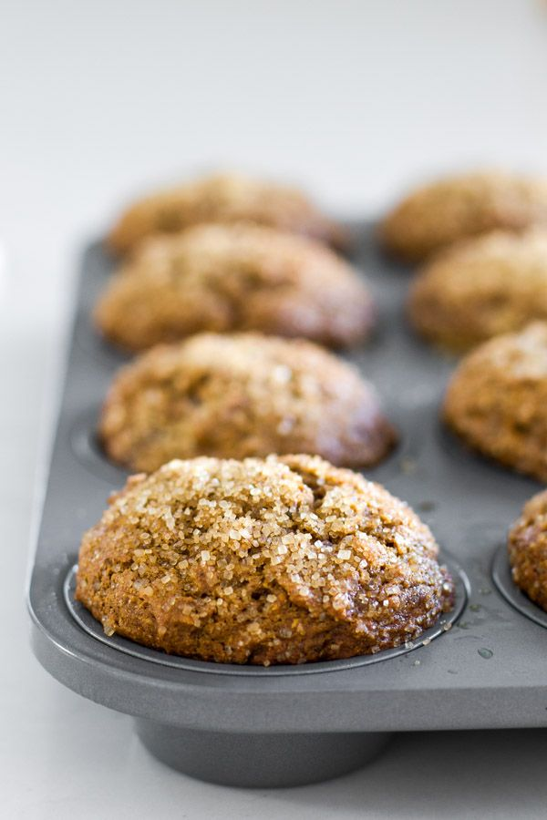 Healthy Gingerbread Muffins with coconut oil, whole wheat flour, and no refined sugar! SO GOOD - my new favorite muffin!