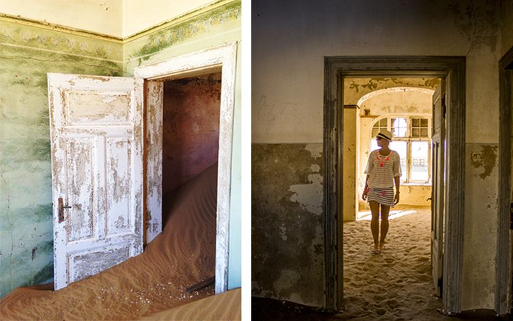 Keeping the sun off my skin with a fine cotton shirt with pretty neon pink trim, at Kolmanskop.