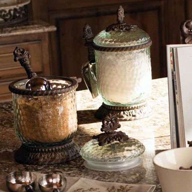 The GG Collection Glass Canisters With Scoop   Mediterranean   Food  Containers And Storage   Atlanta   Iron Accents