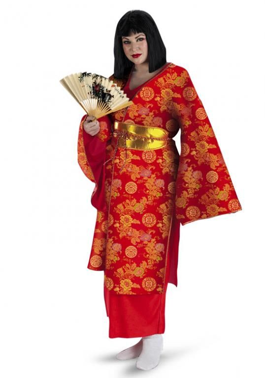 3aecff844c0 Geisha Plus Size Costume Geisha Plus Size Adult Costume Perfect for any  Asian theme! Costume includes  Red satin printed kimono
