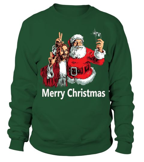 FUNNY UGLY CHRISTMAS SWEATER -SANTA AND CHRIST