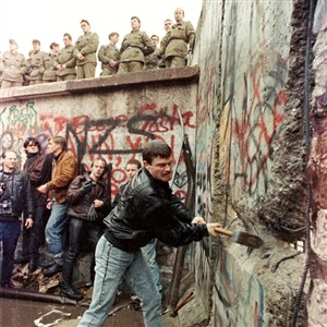 "Berlin ~ Germany ~ Tearing down the Berlin Wall a couple of years after President Ronald Reagan's ""Tear Down This Wall"" Speech."