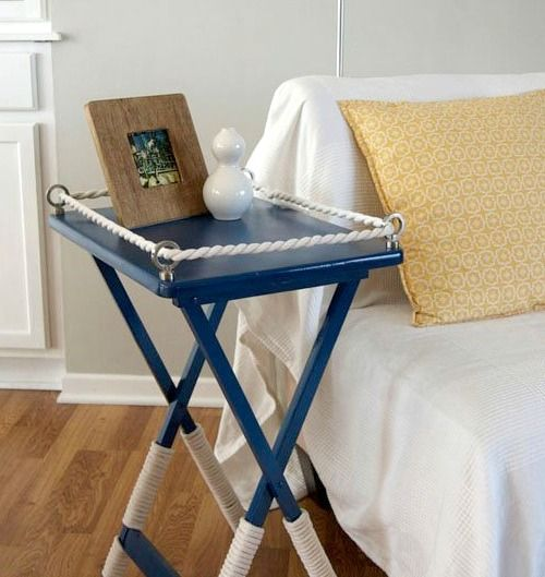 Nautical Tray Table Makeover Ideas Diy Amp Crafts