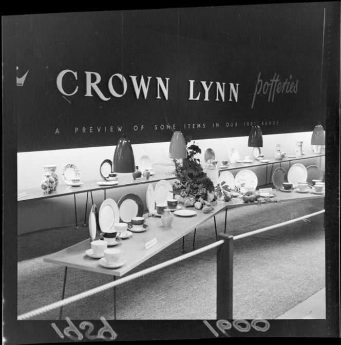Crown Lynn display of cups, saucers and plates at the Wellington Industries Fair exhibits 1959