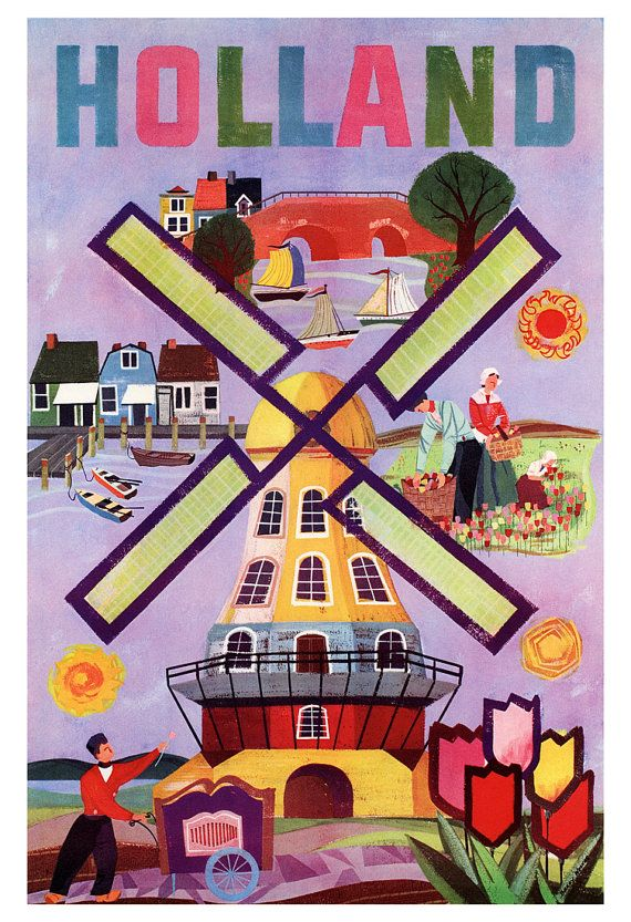 Holland Poster, Netherlands, Windmill, Dutch, Vintage Travel Poster