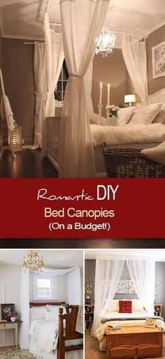 Romantic DIY Canopies on a Budget • Learn how to make a bed canopy for just a few dollars, with tips on using towel rings to curtain rods to cup hooks!
