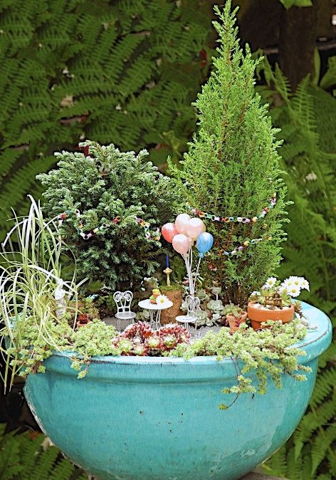 WE SOULD ADD -PLANT MIN1 SHRUBS, GREAT FILLER AND SCENE CREATING!!  A Birthday in the Miniature Garden