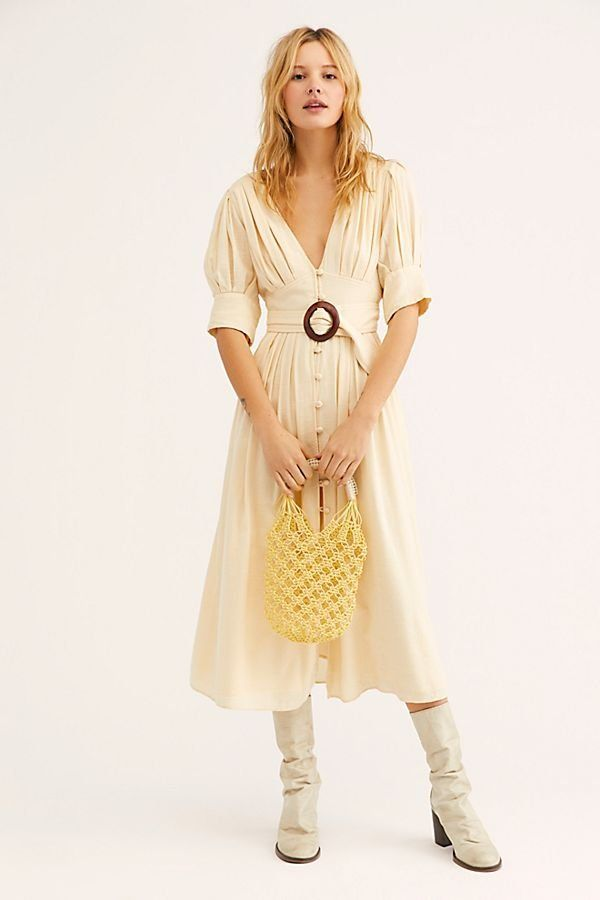 94fcd5998b Heart This Midi Dress - Soft Yellow Linen Midi Dress with O Ring Belt -  Yellow