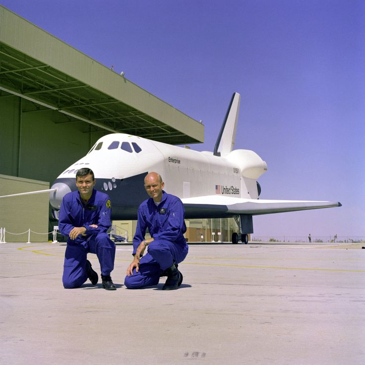The first crew members for the Space Shuttle Approach and Landing Tests (ALT) are photographed at the Rockwell International Space Division's Orbiter Assembly Facility at Palmdale, California.