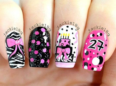 Happy Birthday Nail Art Designs & Ideas 2014