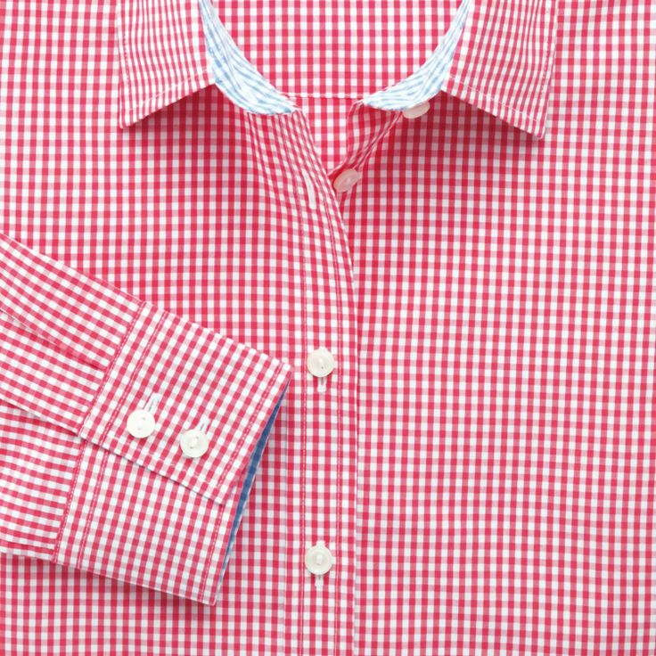 Coral preppy gingham semi-fitted shirt | Women's shirts from Charles Tyrwhitt, Jermyn Street, London