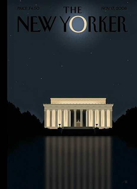 'New Yorker' Cover: 'Reflection' - Barack Obama Victory Cover by Bob Staake