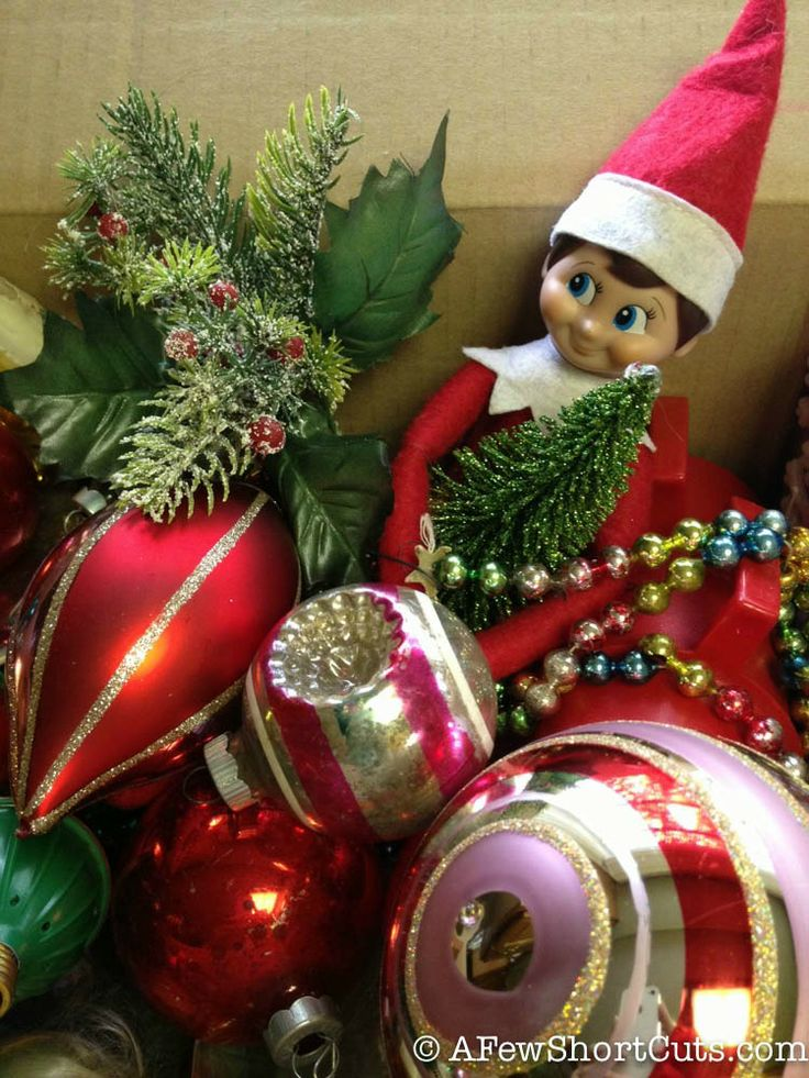 Elf On The Shelf Ideas Hiding In Ornaments