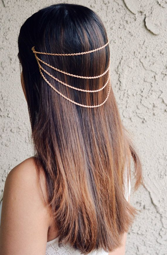 Hair Chain Jewelry Barrette Head Accessory Gold by NaynaJewelry, $12.00 http://etsy.com/shop/naynajewelry