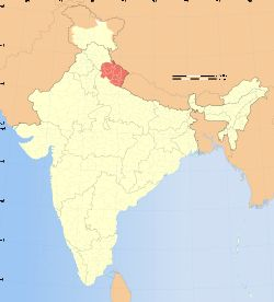 Location of Uttarakhand (marked in red) in India