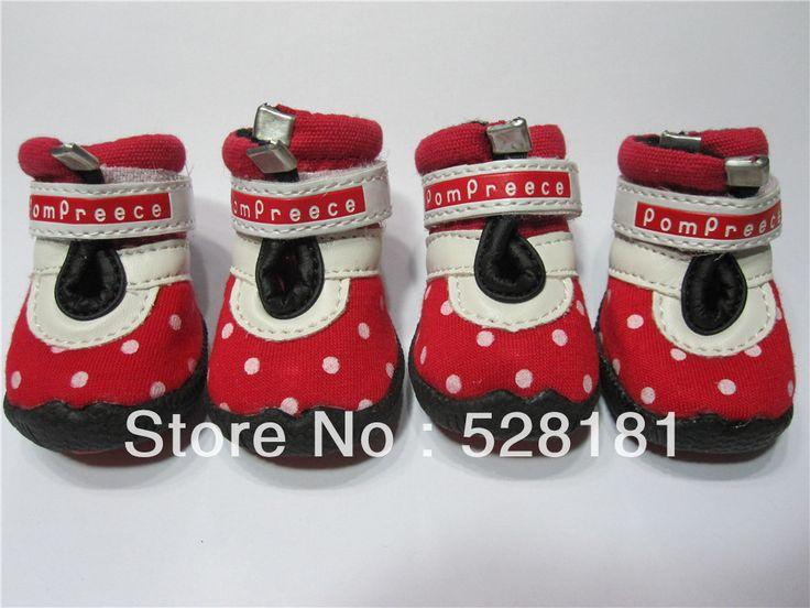 Обувь для собак зоотовары обувь красный белый пятна, мода милый