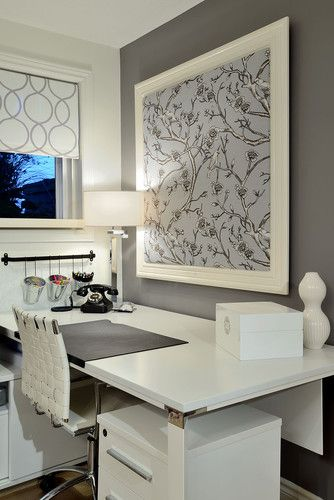 Love the pinboard idea...using a stylish fabric. Like the pencil cannisters too.  Room has a clam feel to it