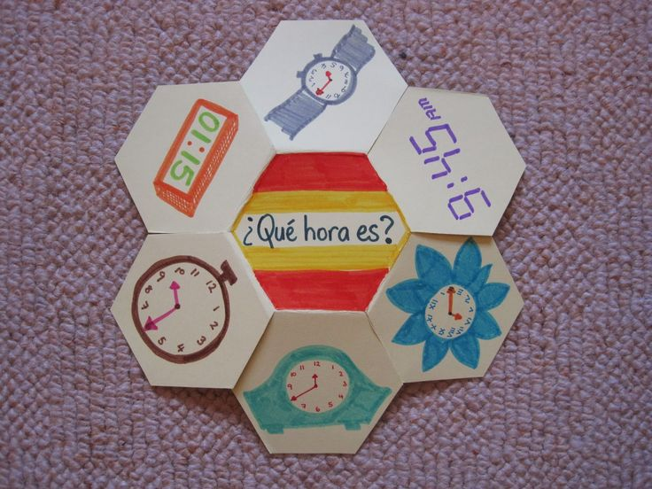 Hexagon books - could be used for any subject, this one is teaching time in spanish. Used maybe for sight words and pictures?