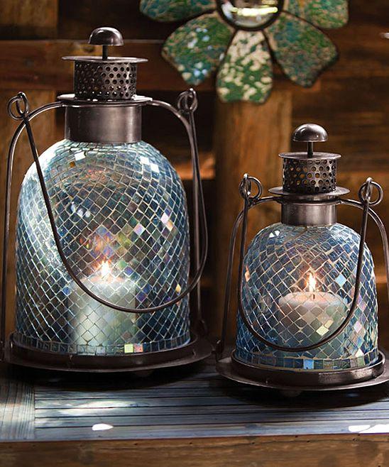 Teal Mosaic Glass Lantern Set | zulily