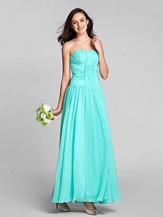 Ankle-length Chiffon Bridesmaid Dress Sheath/Column Scalloped   LightInTheBox