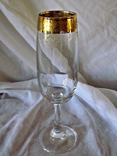 Cellini Italian Etched Crystal Flute Wine Glasses by ...