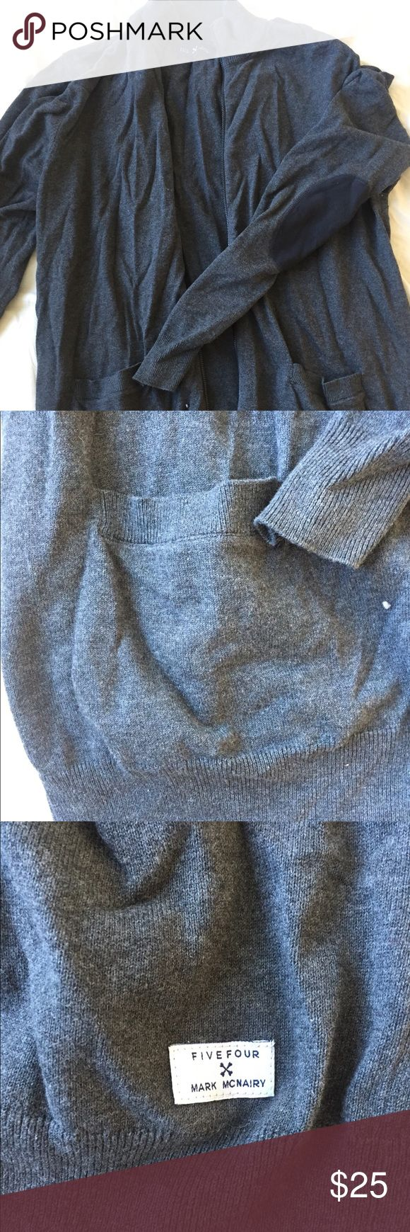 Five Four Men's' Zip Cardigan Zipper works. Very soft. Cute professor-y elbow patches. Worn maybe once or twice. Five Four Sweaters Cardigan