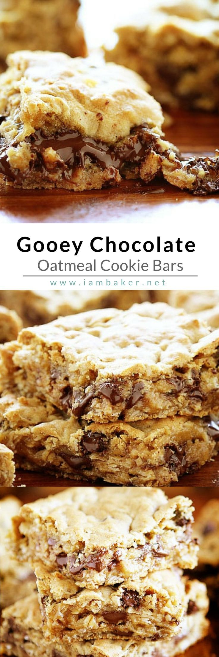 Chocolate Oatmeal Cookies Bars - Let your family dig in to this delicious and perfect-from-the-oven Chocolate Oatmeal Bar! This easy dessert recipe is so ooey-gooey this will be one of the best things you will do today! You can add raisins or walnuts or white chocolate…  even caramel or toffee to fit your taste! For more simple and easy dessert recipes to make, check us out at #iambaker. #yummyfood #desserts #yummydesserts #recipeoftheday