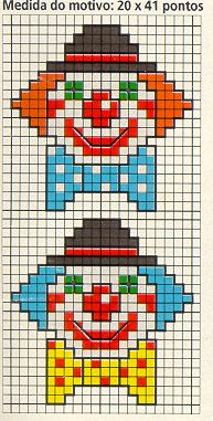 Clowns hama perler beads pattern