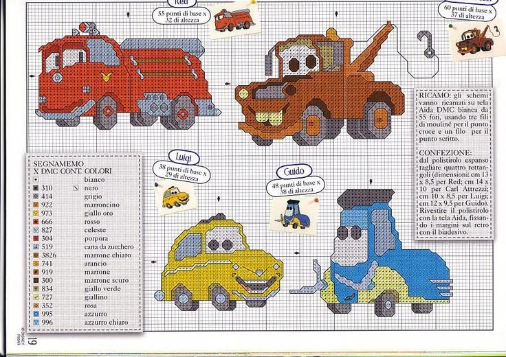 Disney Cars Cross Stitch Chart