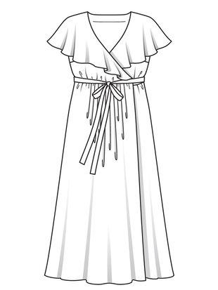Платье с запахом и присборенной юбкой