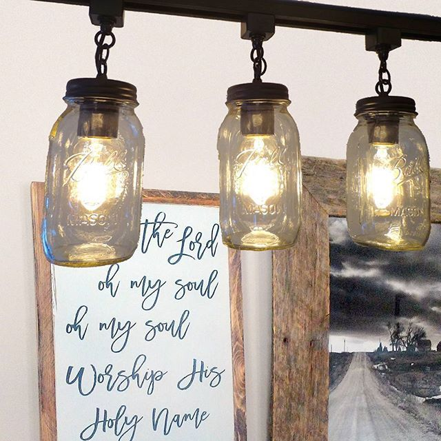 """Got a beautiful sign yesterday from @thepaintednest and hung it next to my favorite Nebraska farm scene photo. Thought then it needed to have a little lighting so I """"dropped"""" in our mason jar track lights.#farmhouse #nebraskalife #nebraskafarm #farmhousestyle #modernfarmhouse #rustic #industrial#shabbychic #chippylicious #electric #edisonbulb #lampsplus #light #chandelier #pendantlight #style #design #homedesign #homedecor #homedecorating #interiordesign #tracklighting  #metaldecor…"""
