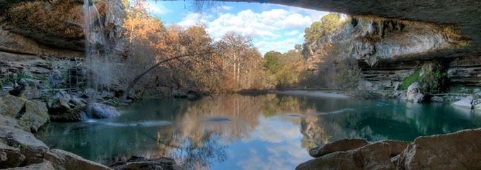 HAMILTON POOL AND NATURE PRESERVE. Located about 30 miles southwest of Austin, this swimming hole is known for it's pristine water.