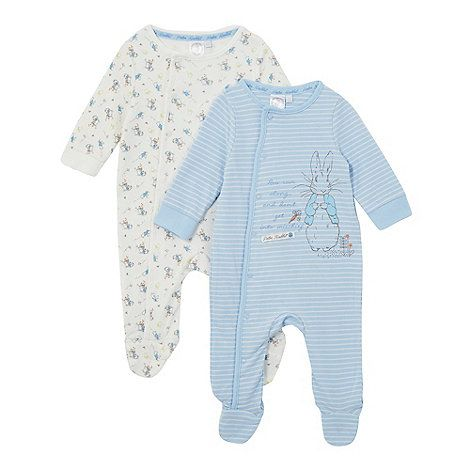 These adorable 'Peter Rabbit' sleepsuits have been made with super-soft pure cotton for ultimate comfort and popper fastenings for easy changing. One of the suits comes in a blue and white striped design with the slogan 'Now run along... and don't get into mischief', while the other features a colourful gardening print.