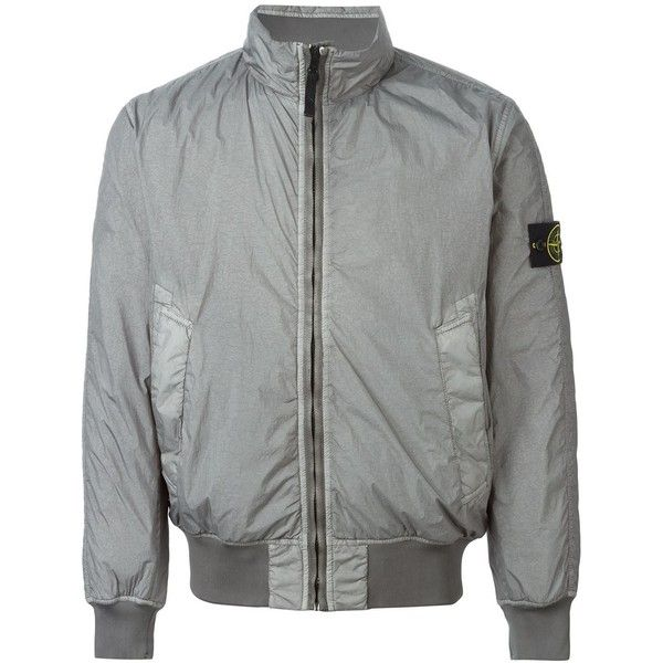 Stone Island padded bomber jacket ($585) ❤ liked on Polyvore featuring men's fashion, men's clothing, men's outerwear, men's jackets, grey, mens grey jacket, mens padded bomber jacket, mens grey bomber jacket, mens gray leather jacket and mens padded jacket