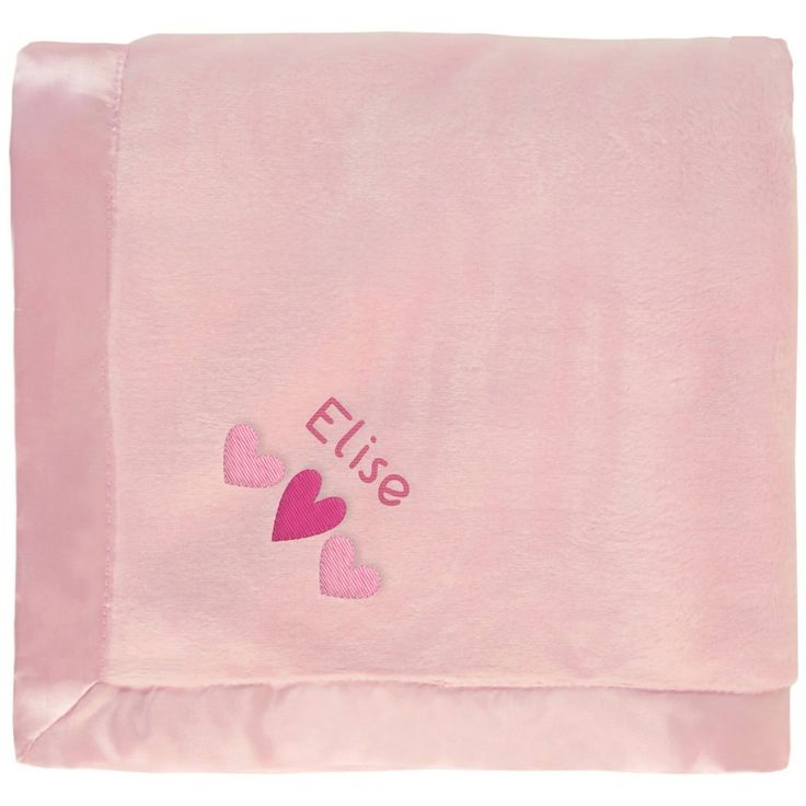 #Elise baby girl blanket in pink with a cute embroidered Heart Trio. The name Elise is personalized with unique embroidery in a custom design, perfect as a newborn #baby shower gift. https://www.babyblankets.com/pink-baby-blanket?utm_source=pinterest&utm_medium=pin&utm_campaign=girl_name