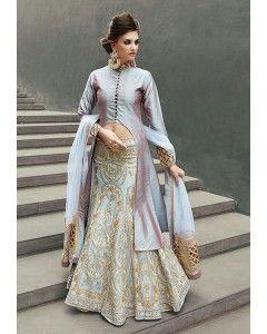 Blue Gold Embroidered Lehenga