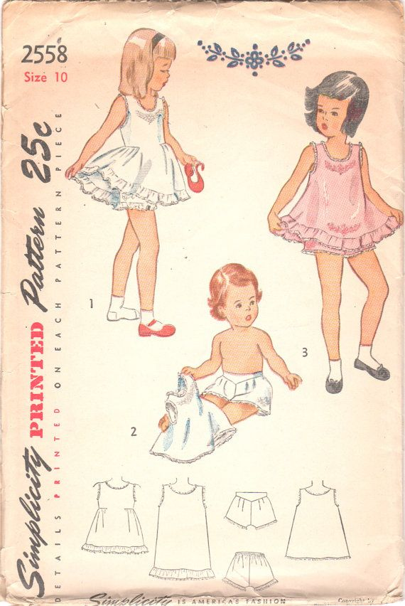 Simplicity 2558 1940s Girls Heirloom Dainty Underclothes Pattern Pantalettes Panties Slip Childs Vintage Sewing Size 10 Breast 28 UNCUT