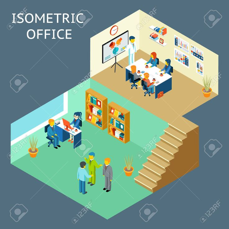 42362109-Office-work-Isometric-flat-3d-about-office-staff-Work-and-people-meeting-and-worker-teamwork-and-int-Stock-Vector.jpg (1300×1300)
