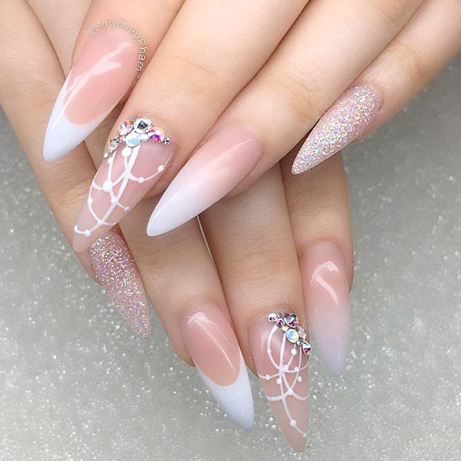 cool nude almond nails design