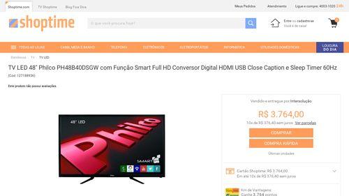 [Shoptime] TV LED 48 ´ Philco PH48B40DSGW com Função Smart Full HD Conversor Digital HDMI USB Close Caption e Sleep Timer 60Hz - de R$…