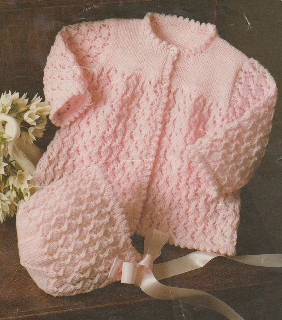 baby knitting pattern vintage matinee coat bonnet booties in double knit sizes 16-20 inch chest