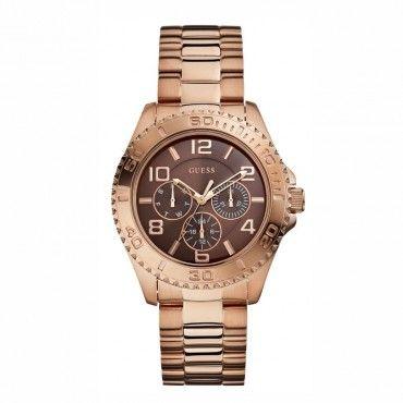 GUESS ρολόγια ΤΣΑΛΔΑΡΗΣ - W0231L8 - GUESS bronze day-date rose bracelet. Γυναικείο quartz ρολόι GUESS με μπρονζέ καντράν, μπρασελέ, ημέρα & ημερομηνία #Guess #ροζ #ατσαλι #μπρασελε #ρολοι