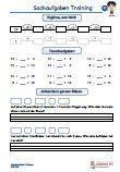 """#Tagestraining #Sachaufgaben #Arbeitsblaetter / Übungen / Aufgaben für den Mathematikunterricht -  Grundschule.  Es handelt sich um Tagestrainings - Sachaufgaben - Arbeitsblätter aus der 1.Klasse, zum Vertiefen der Rechenfertigkeit. Verschiedene Übungen wie """"Plus, Minus"""" und jeweils 2 Textaufgaben sind auf einem Übungsblatt.  10 Arbeitsblätter + 5 Lösungsblätter mit ausführlichen Lösungen."""
